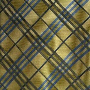 Gold Plaid Self Tipped Silk Tie