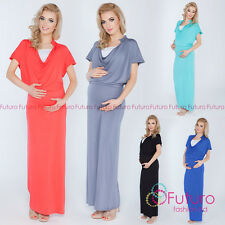 Ladies Maternity Evening Maxi Dress Cowl Neck Full Length Sizes 8-14 8202