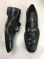 Salvatore FERRAGAMO Studio Black Leather Horsebit Loafers Slip On Mens SIZE 7.5