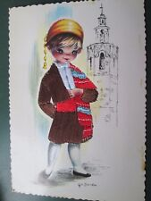 Vintage Spanish embroidered silk postcard  1978- Gallarda print  boy