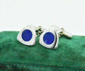 Vintage Sterling Silver Cufflinks Art Deco Blue Lapis Peaky Blinders Gift #L261