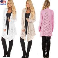 Women Long Sleeve Hollow Lace Cardigan Tops Casual Loose Jacket Coat Outwear USA