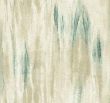 Wallpaper Designer Modern Aqua Teal and Beige with Gold Wash Faux