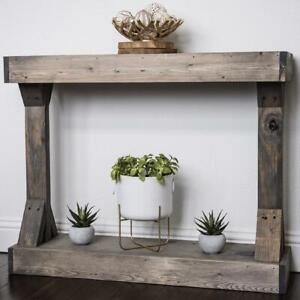 Rustic Farmhouse Console Table Solid Wood Shelf Sofa Accent Entryway Hall Gray