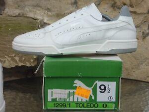 Vintage 1980s PUMA Toledo UK9.5 Made In Italy Deadstock OG White Grey 80s Tennis