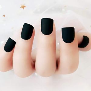 MATTE *BLACK* SHORT Full Cover Press On 24 Nail Tips + Glue! sm1