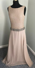 Chadwicks Champagne Beaded Evening Gown Size 8