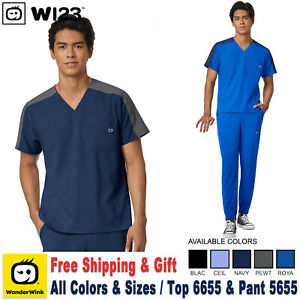 WonderWink Scrubs Set W123 Men's Colorblock Top & Cargo Jogger Leg Pant