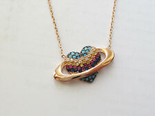 ROSE GOLD PLT. 925 STERLING SILVER TURQUOISE TOPAZ MULTISTONE HEART NECKLACE