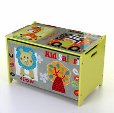 LARGE KIDS CHILDREN WOODEN STORAGE TOY BOX CHEST LID CLOTHES BOYS GIRLS TOY BOX