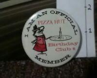 Rare Vintage Pin Cute Round Metal Pinback Cartoon Pizza Hut Birthday Club Member