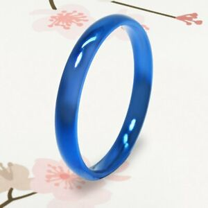 New Blue Polish Women Titanium 3mm Thin Dome Christmas Gifts Ring UKCSK 081