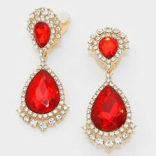 Tear Drop Rhinestone Clip On Earrings Transvestite Cross dresser Pageant