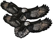 """Lot of 2 AMERICAN BALD EAGLE USA BIKER LARGE EMBROIDERED PATCH 11 1/2"""" Wide"""
