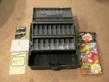 Vintage / New Plano 6803 3-Tier Fishing Tackle Box Case + New 173pc Tackle Set