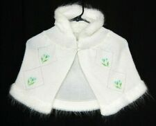 Toddler Girls Acrylic Knit Hooded White Shawl Handmade 3t 4t 5t ? Vintage