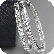 crystal hoop stud earrings oval weddings 18k white gold gp made with Swarovski