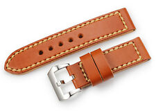 24mm Genuine Leather Double Layer Watch band Sliver Tan Buckle Strap For Panerai
