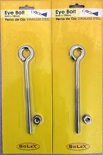 2 X CHROMED STAINLESS STEEL 8 MM X 150 MM EYE BOLTS WITH NUT AND WASHER