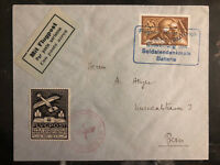 1925 Basel Zurich Switzerland Military Airmail Cover Soldier Memorial # C6 SF30