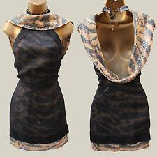 Rare Karen Millen Limited Tiger Print Sequin Cowl Back Cocktail Mini Dress 10 UK