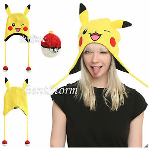 Pokemon GO Pikachu Beanie Hat Laplander Floppy Plush Ears Pokeball Pom Tassles