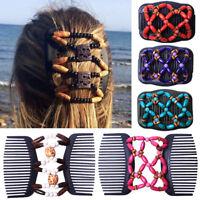 Women Magic Hair Comb Clip Beads Wooden Elastic Hairpin Hair Accessories Decor
