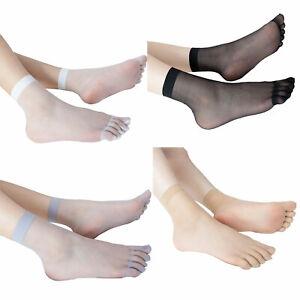 Pair Women Ankle Socks Ultra-thin Sheer Silky Short Stockings Silk Toe Socks