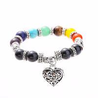 Set Tumbled Polish Stone + Chakra Lava Beads Stretch Bracelet Reiki Healing Gift