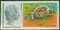 Aitutaki Cook Islands 1974 $5 QEII & Tiger Cowrie SG110 V.F MNH