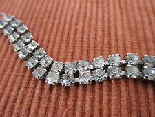 Bracelet Weiss Tennis Double Row Brillant Clear Rhinestone Signed Woodward Box