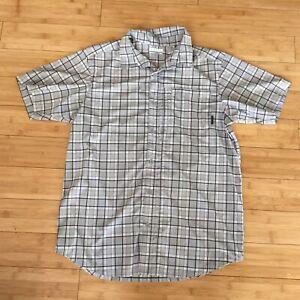 Columbia Men's Shirt Camping Hiking Short Sleeve Plaid Button Down Omni M Gray