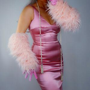 "VELVET GLOVES 70cm 28"" Extra Long Stretchy Light Pink w/ Faux Fur Shearling"