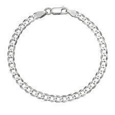 Solid 925 Sterling Silver Men's Italian 5mm Cuban Curb Link Chain Bracelet