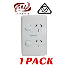1 x Double 10AMP Power Point GPO - VERTICAL - DOUBLE POLE - White Electrical