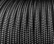 100m x 6mm SOLID BLACK Rope - Double Braid Polyester for Yacht Boat & Marine