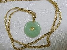 14K Yellow Gold Pendant Necklace Jadeit Disk Lacy Byzantine-Link Chain 7.2 Grams