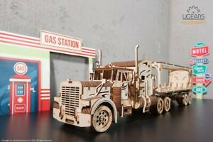 """Ugears Code: 70057 Wooden 3D """"Semitrailer for the"""" Tractor VM-03 """"model"""