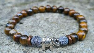 Damen Armband Tigerauge 6mm Elefant Anhänger Damen Armband Perlen Perlenarmband