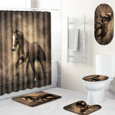 War Horse Bathroom Rug Set Shower Mat Shower Curtain Bathmat Toilet Seat Cover