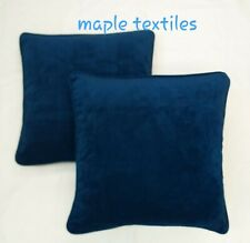 """4 X DARK NAVY BLUE SMOOTH SOFT TOUCH VELVET PIPED 18"""" CUSHION COVERS £19.99"""