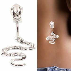 Snake Design Belly Bar Piercing Crystal Navel Ring Surgical Steel 3 Colours