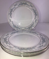 "Somerset Blue Floral Bread Dessert Plates 7"" Excel Fine China Set Of 4. Nice"