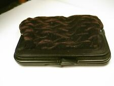 Vintage Deep Brown/Eggplant Textured Velvet Clutch Purse, Brown Plastic hinged,