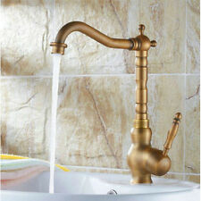 Antique Single Handle Kitchen Bathroom Sink Faucet Swivel Mixer Tap Brass Finish