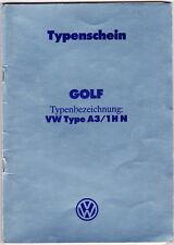 Typenschein   Vw  Golf  Type  A3/  1  HN   Bj  1992