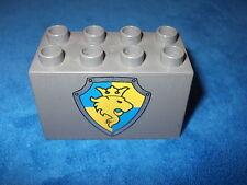 LEGO DUPLO RITTERBURG 8er NOPPEN 4777 + 4988 + 4785 großer WAPPENSTEIN HOCH GRAU