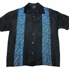Vintage 90s Anchor Blue Men's M Button Up Bowling Shiny Flame Rockabilly Shirt