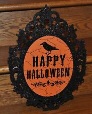 "Happy Halloween Hanging Decoration Glitter Black Mirror with Crow 16"" x 12"" NEW"