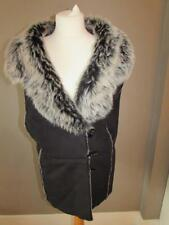 MARKS & SPENCER Ladies Black Faux Suede Gilet Waistcoat Grey Faux Fur Size 28